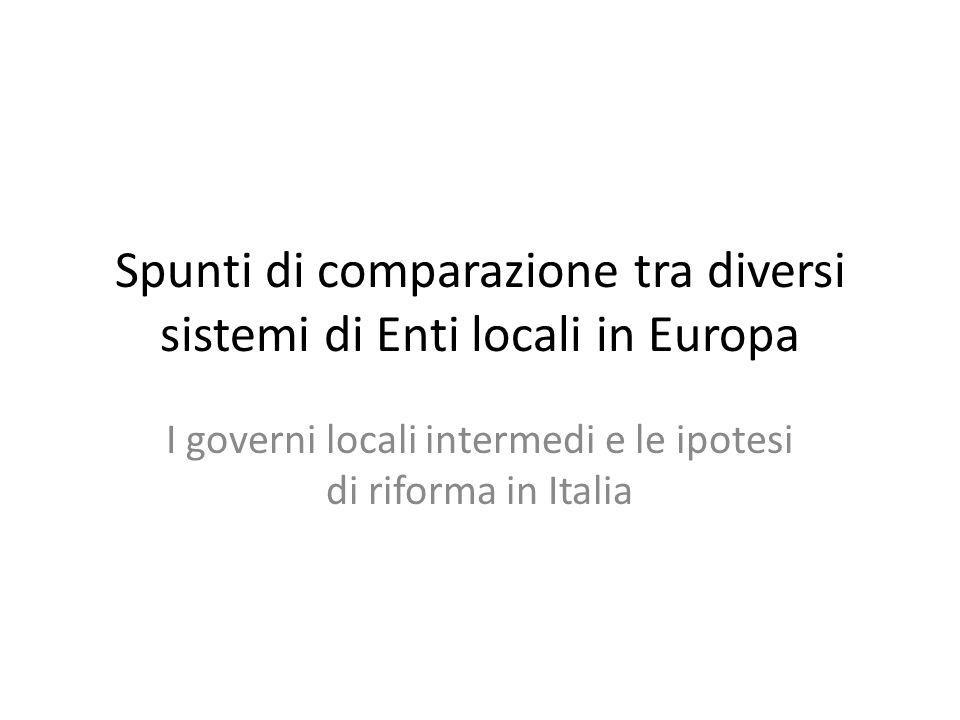 Spunti di comparazione tra diversi sistemi di Enti locali in Europa