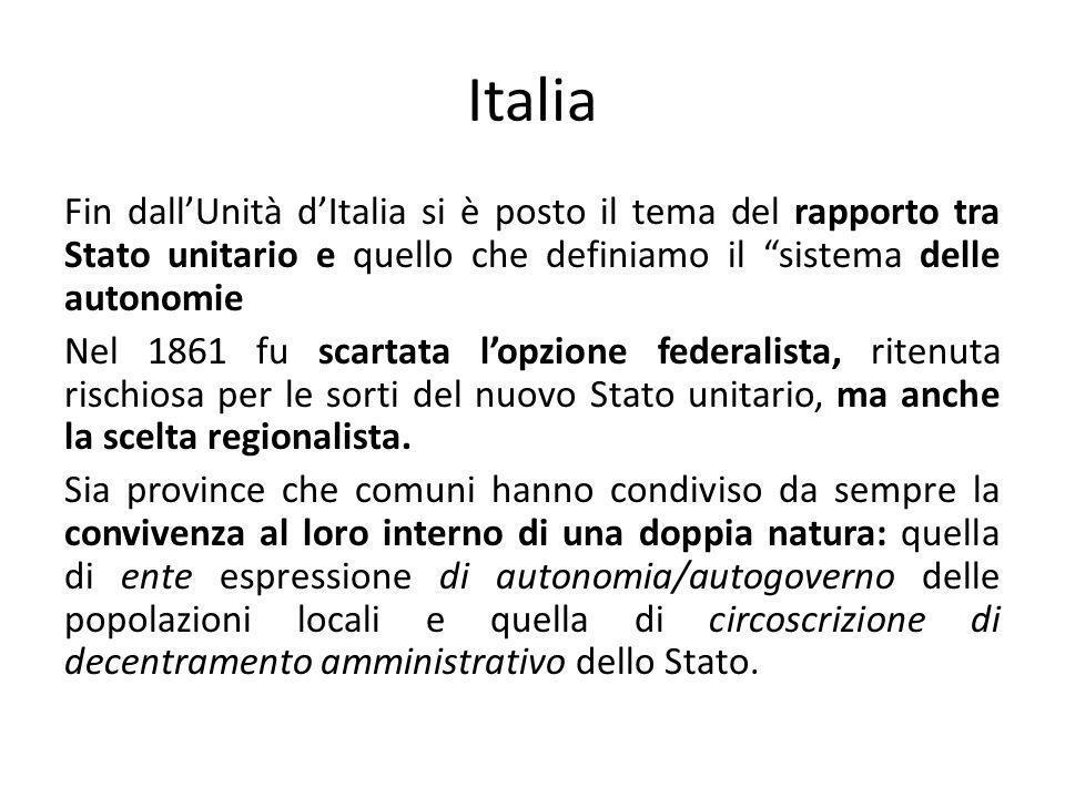 Italia Fin dall'Unità d'Italia si è posto il tema del rapporto tra Stato unitario e quello che definiamo il sistema delle autonomie.