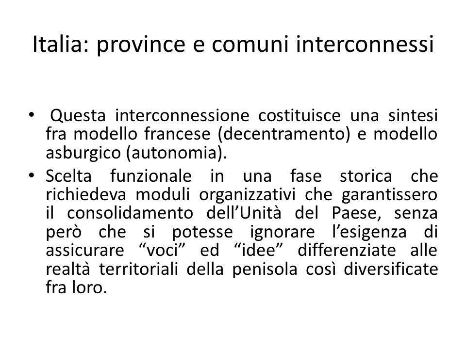 Italia: province e comuni interconnessi