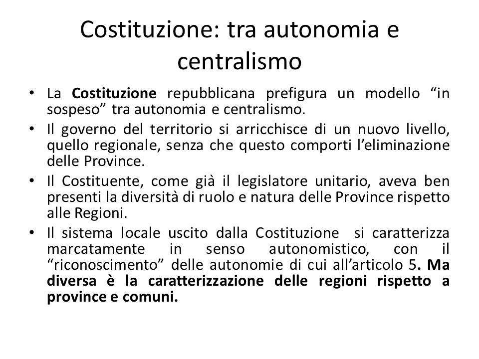 Costituzione: tra autonomia e centralismo