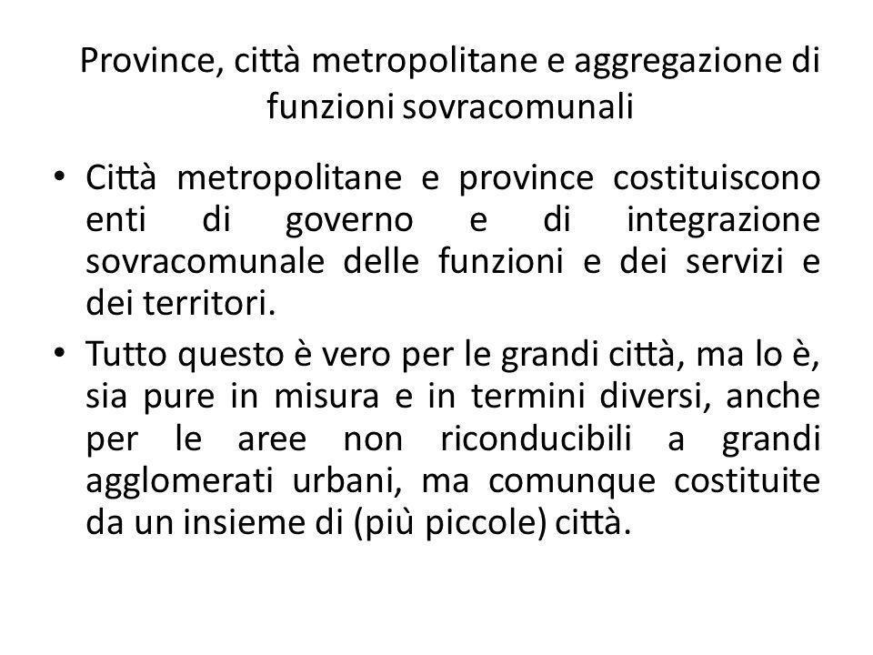 Province, città metropolitane e aggregazione di funzioni sovracomunali