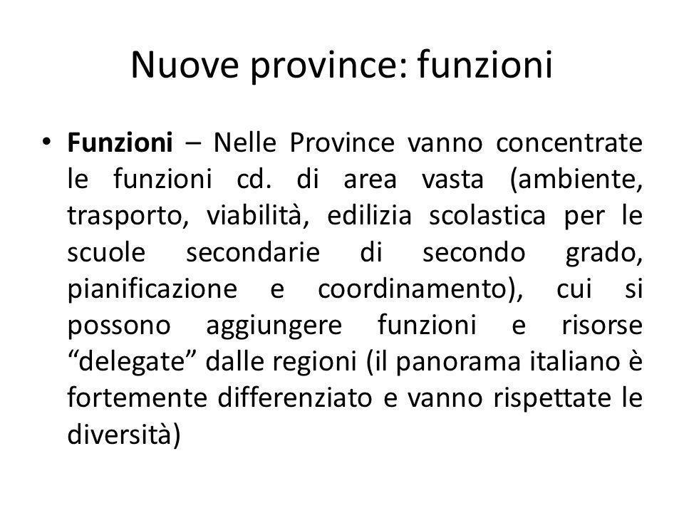 Nuove province: funzioni