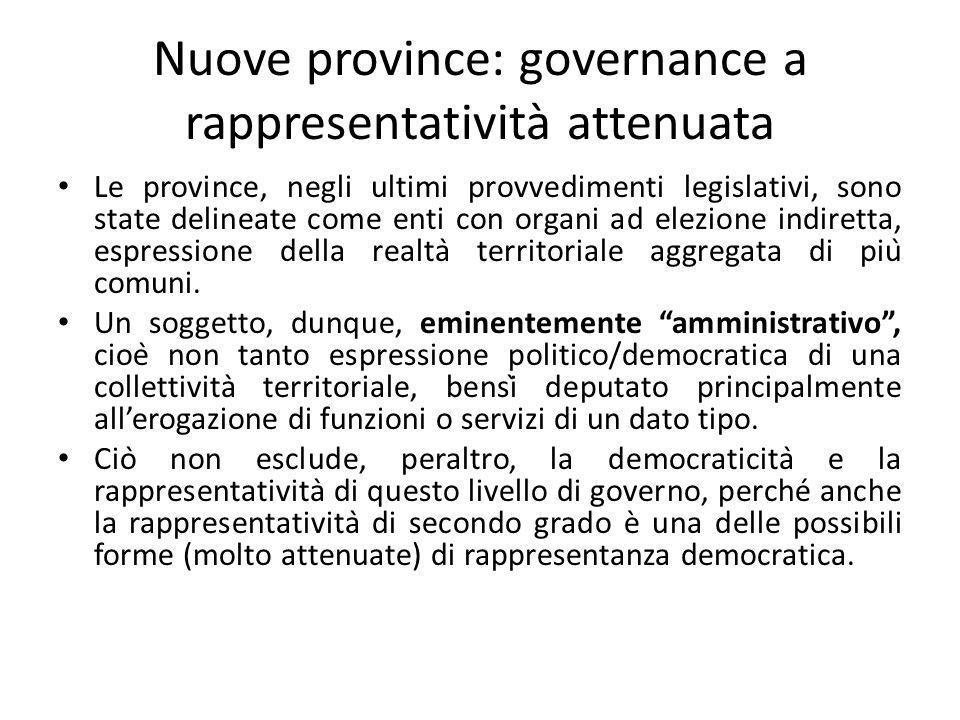 Nuove province: governance a rappresentatività attenuata