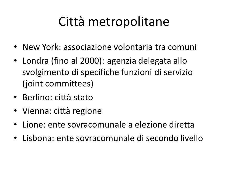 Città metropolitane New York: associazione volontaria tra comuni