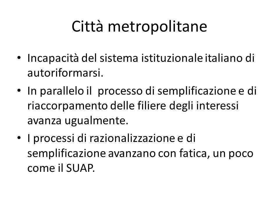 Città metropolitane Incapacità del sistema istituzionale italiano di autoriformarsi.