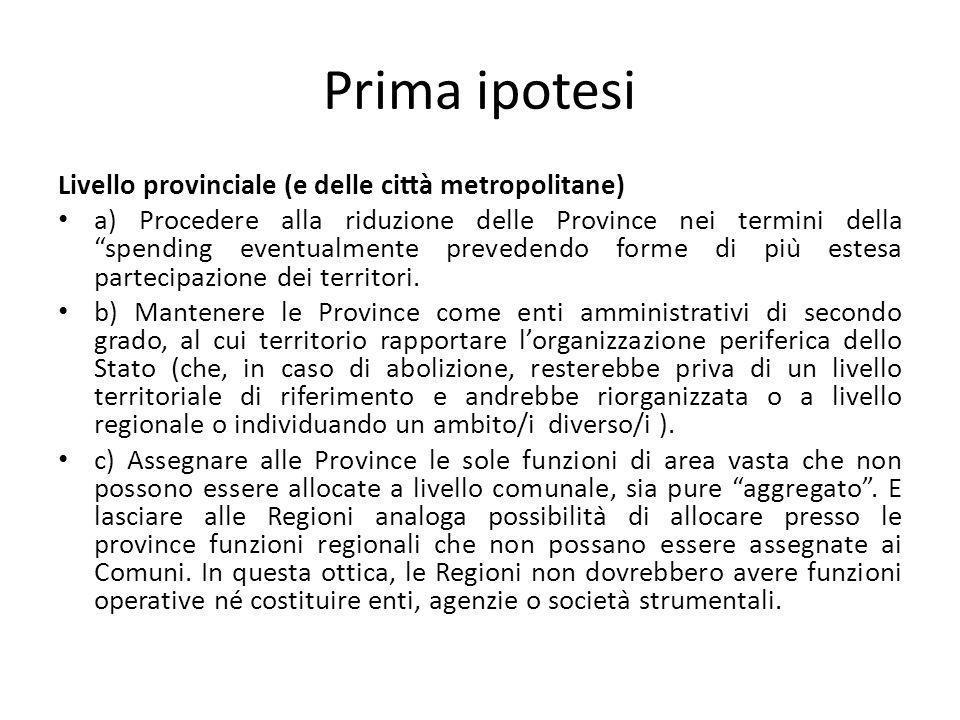 Prima ipotesi Livello provinciale (e delle città metropolitane)