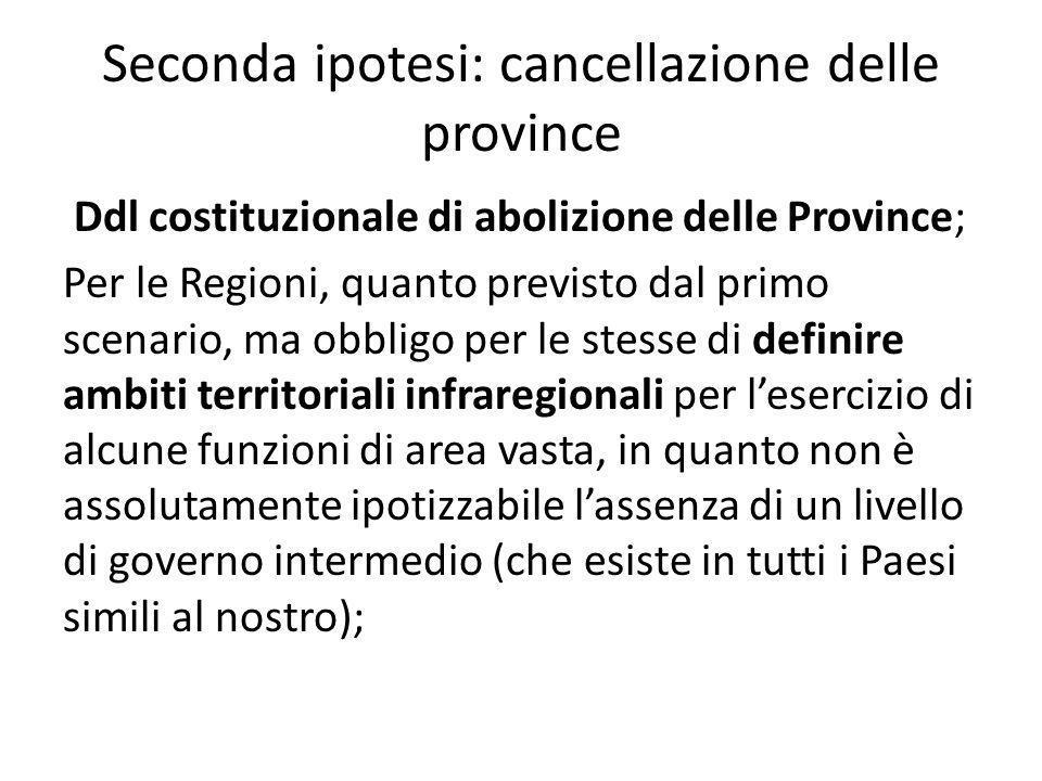 Seconda ipotesi: cancellazione delle province