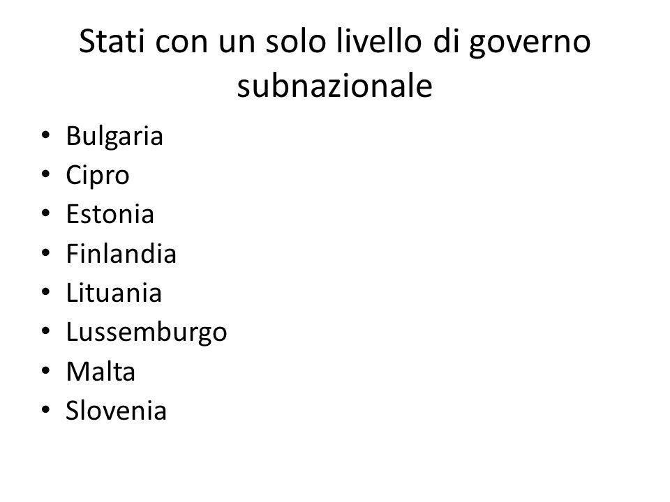 Stati con un solo livello di governo subnazionale
