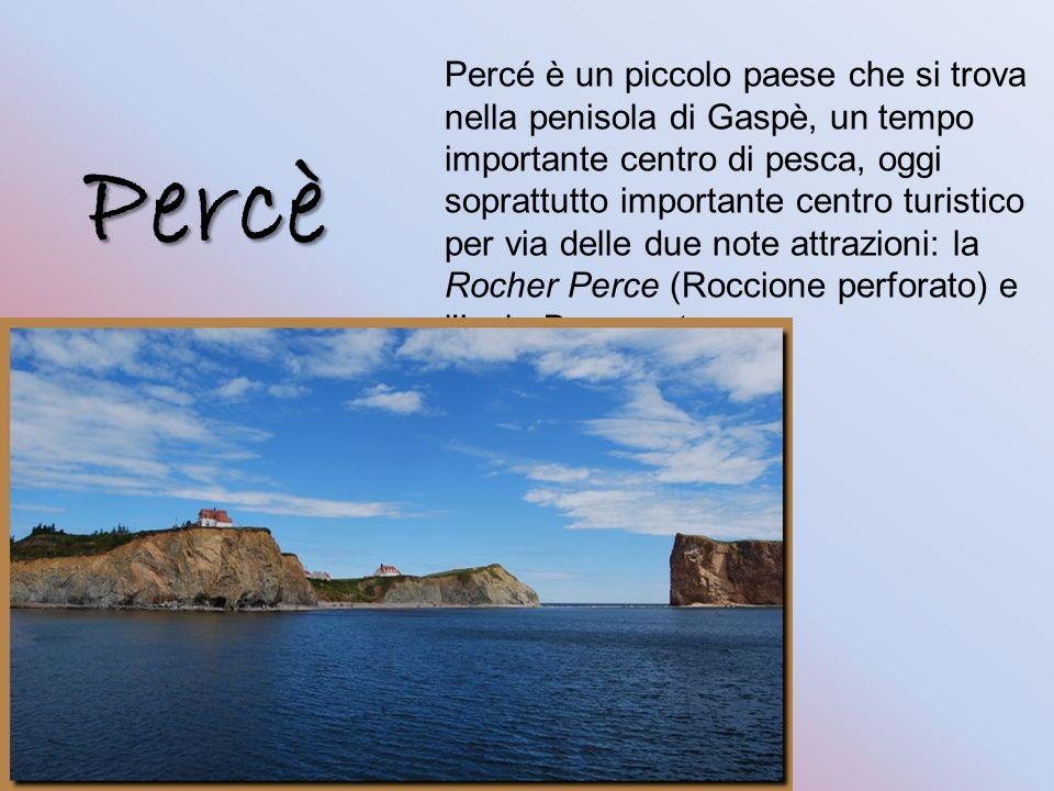 Percé è un piccolo paese che si trova nella penisola di Gaspè, un tempo importante centro di pesca, oggi soprattutto importante centro turistico per via delle due note attrazioni: la Rocher Perce (Roccione perforato) e l Isola Bonaventura.