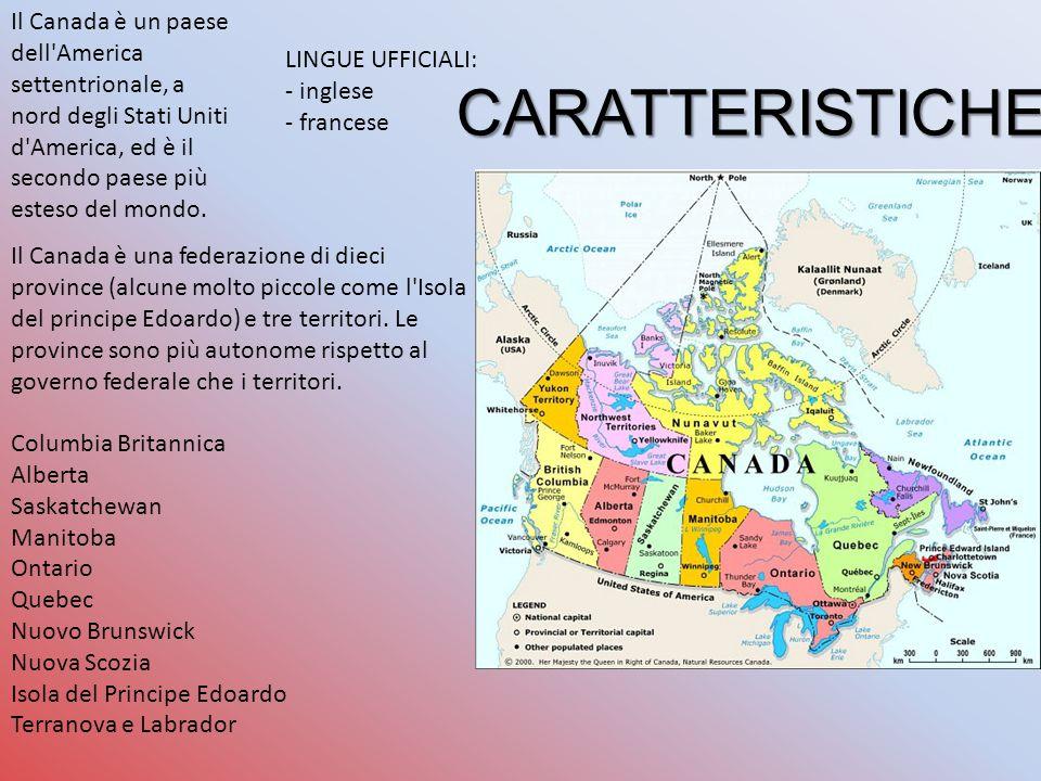 Il Canada è un paese dell America settentrionale, a nord degli Stati Uniti d America, ed è il secondo paese più esteso del mondo.
