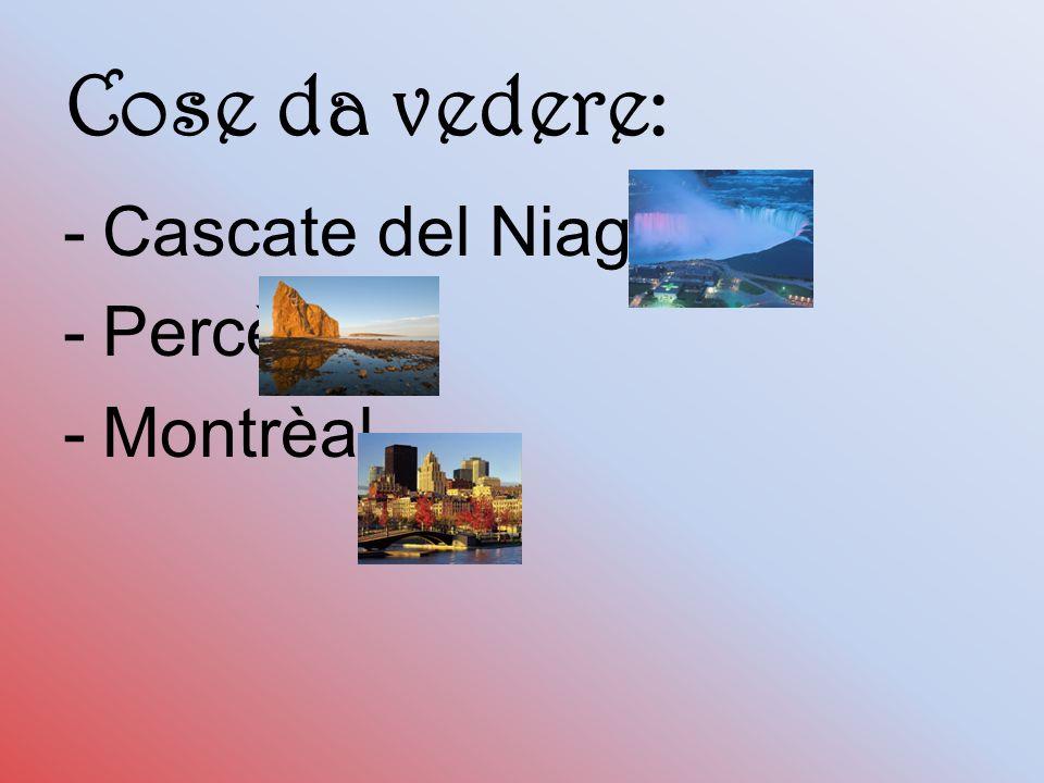 Cose da vedere: Cascate del Niagara Percè Montrèal