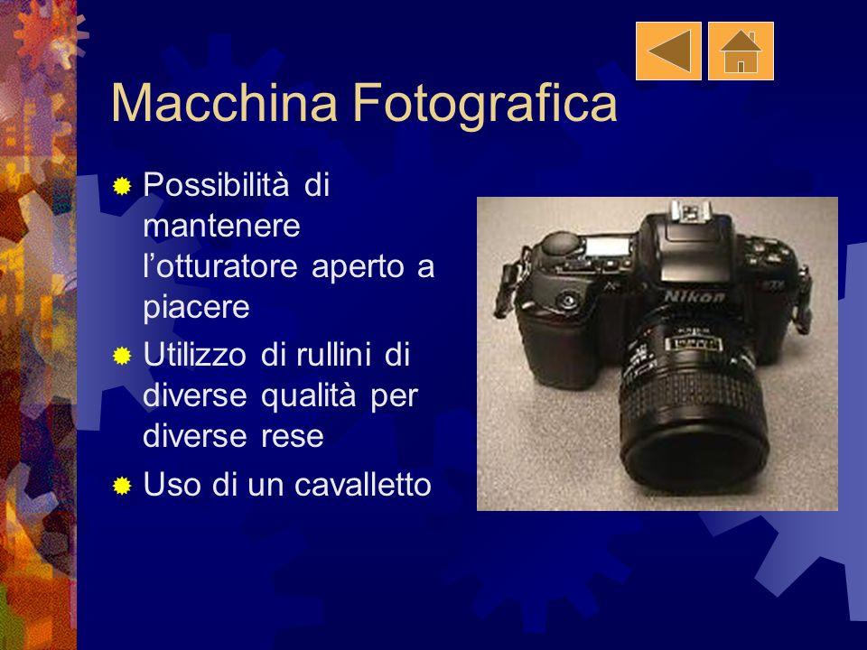 Macchina Fotografica Possibilità di mantenere l'otturatore aperto a piacere. Utilizzo di rullini di diverse qualità per diverse rese.