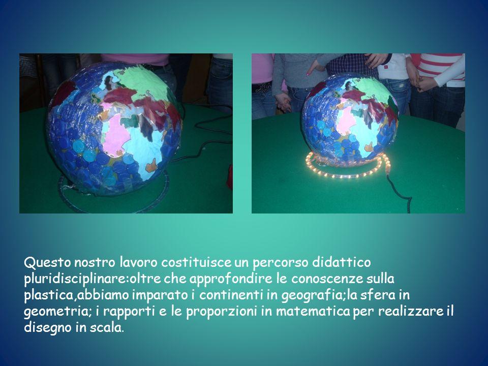 Questo nostro lavoro costituisce un percorso didattico pluridisciplinare:oltre che approfondire le conoscenze sulla plastica,abbiamo imparato i continenti in geografia;la sfera in geometria; i rapporti e le proporzioni in matematica per realizzare il disegno in scala.