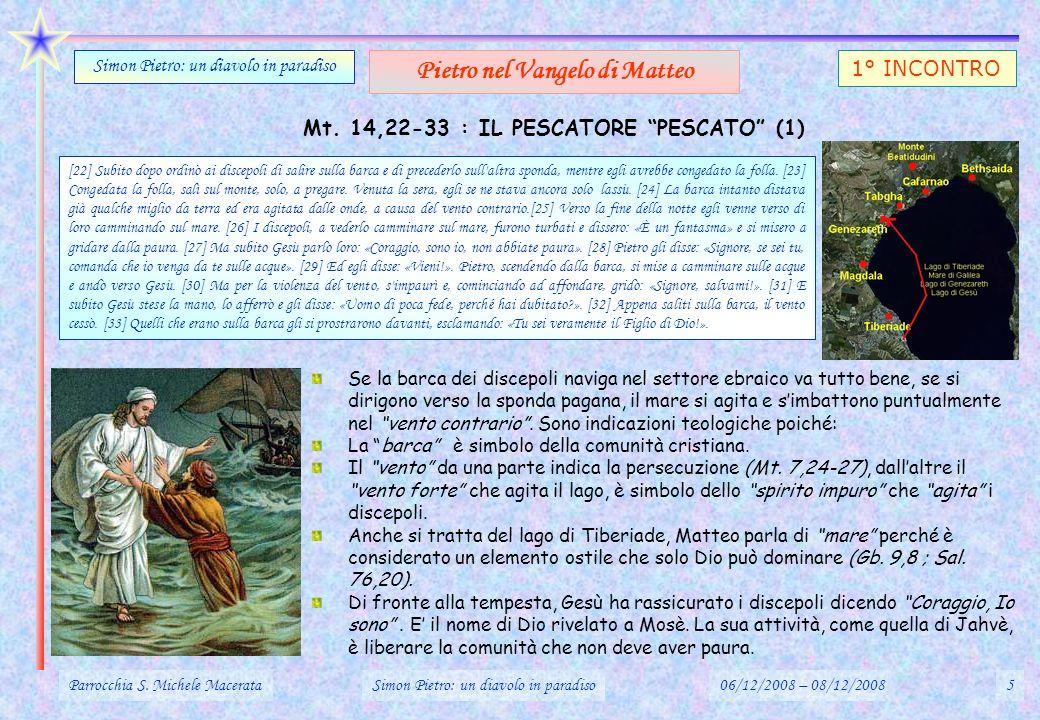 Pietro nel Vangelo di Matteo Mt. 14,22-33 : IL PESCATORE PESCATO (1)