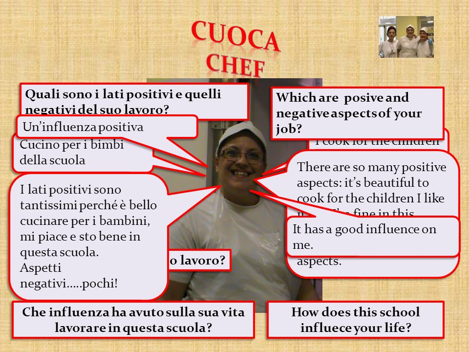 CUOCA CHEF Quali sono i lati positivi e quelli negativi del suo lavoro Which are posive and negative aspects of your job