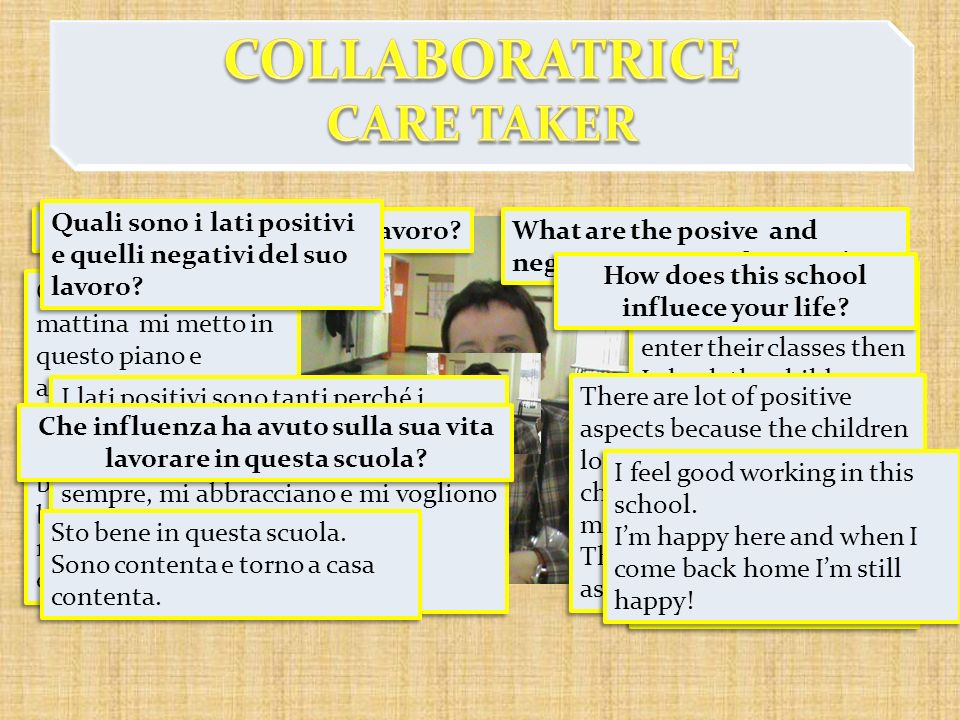 COLLABORATRICE CARE TAKER