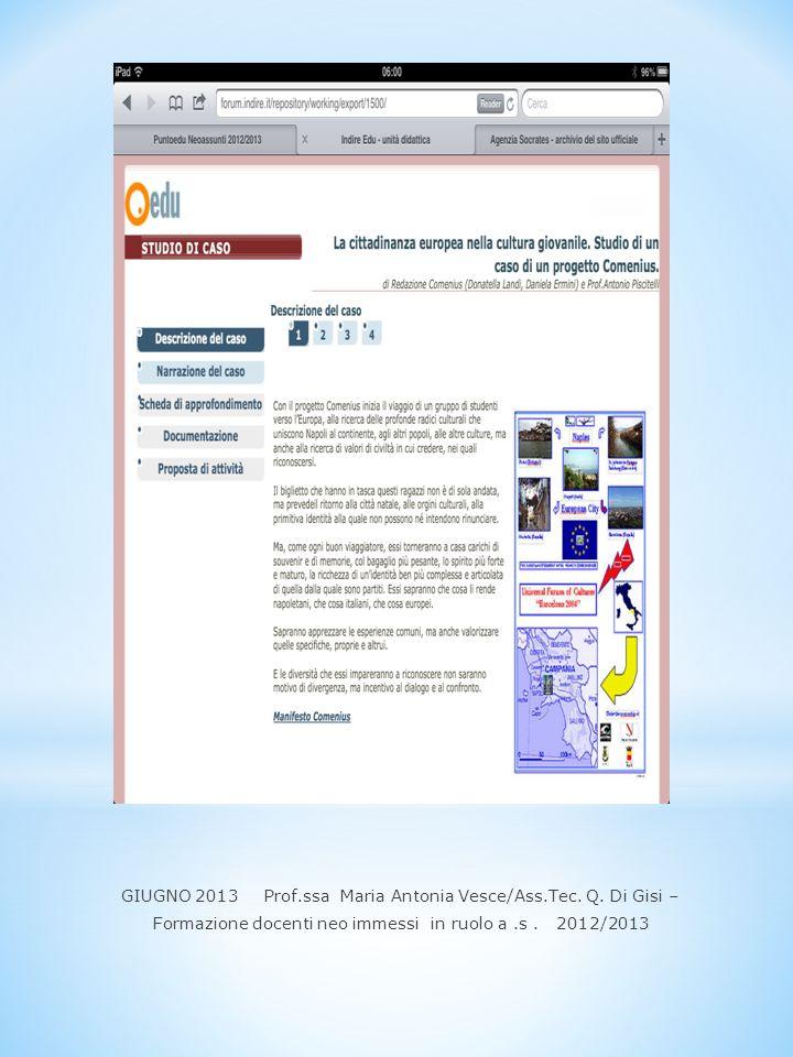GIUGNO 2013 Prof.ssa Maria Antonia Vesce/Ass.Tec. Q. Di Gisi –
