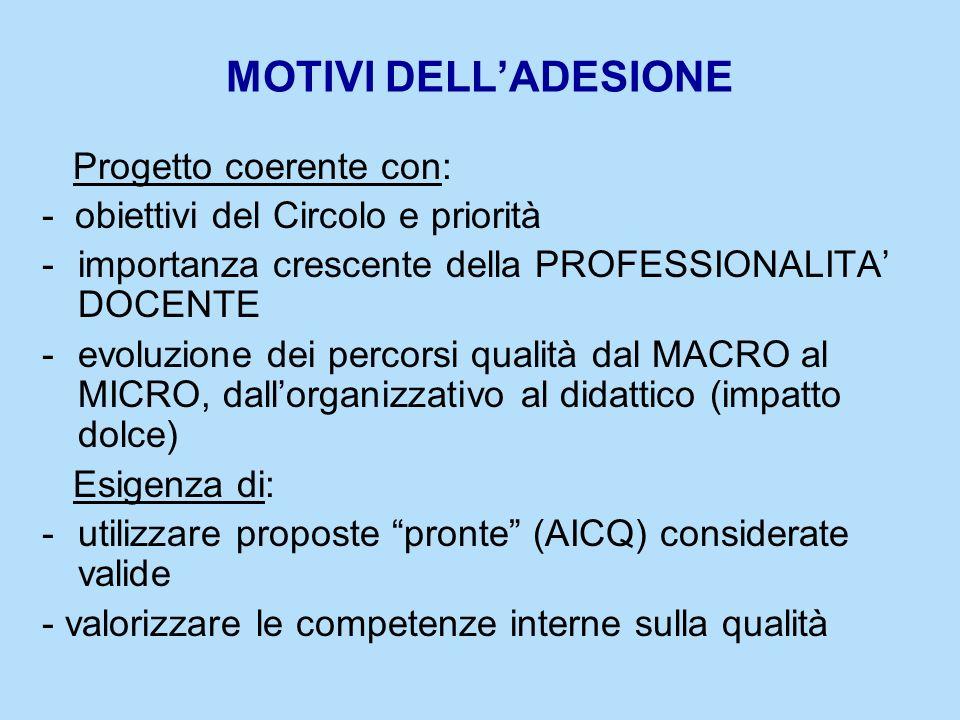MOTIVI DELL'ADESIONE Progetto coerente con: