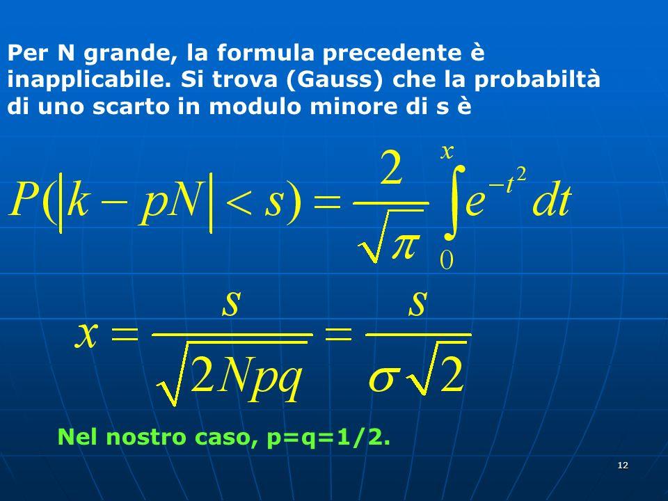 Per N grande, la formula precedente è inapplicabile