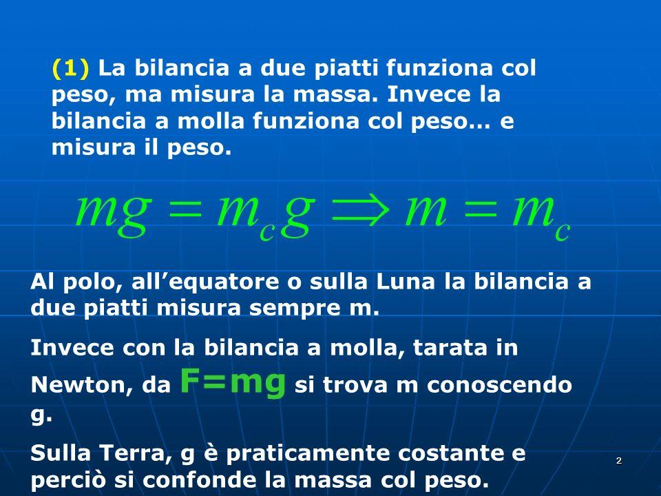 (1) La bilancia a due piatti funziona col peso, ma misura la massa
