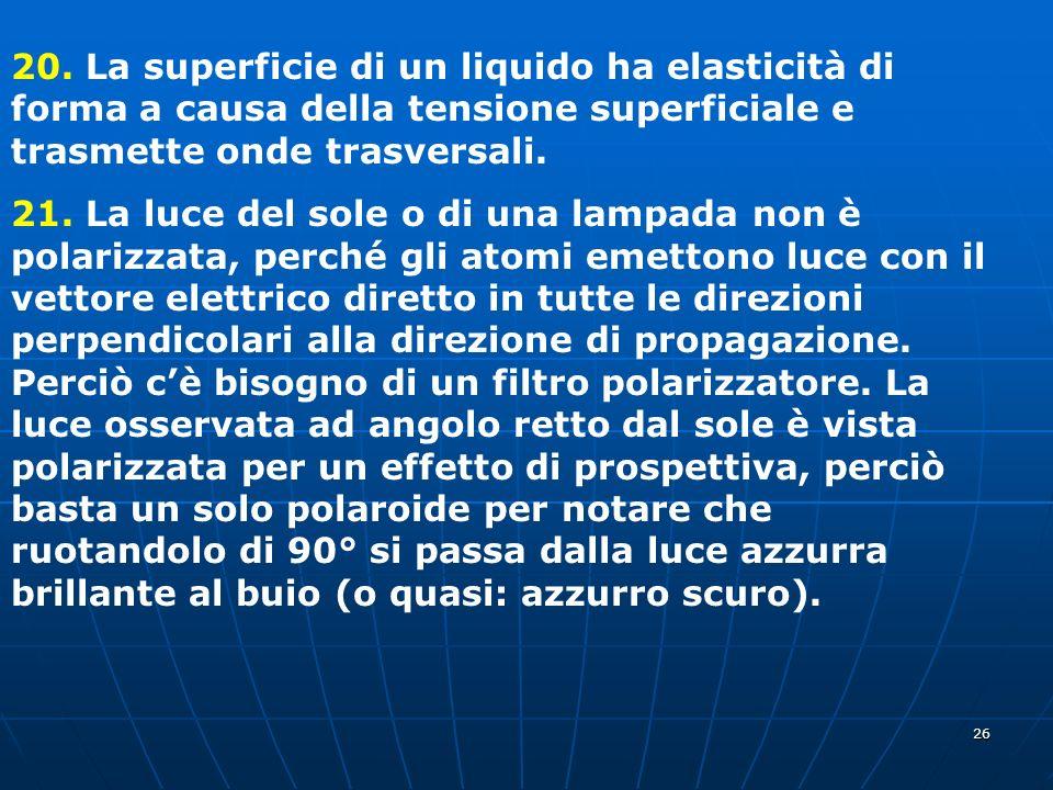 20. La superficie di un liquido ha elasticità di forma a causa della tensione superficiale e trasmette onde trasversali.