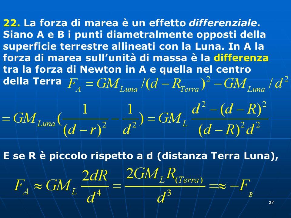 22. La forza di marea è un effetto differenziale