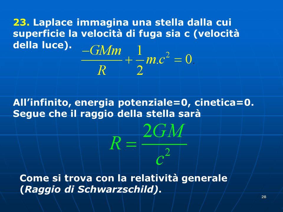 23. Laplace immagina una stella dalla cui superficie la velocità di fuga sia c (velocità della luce).