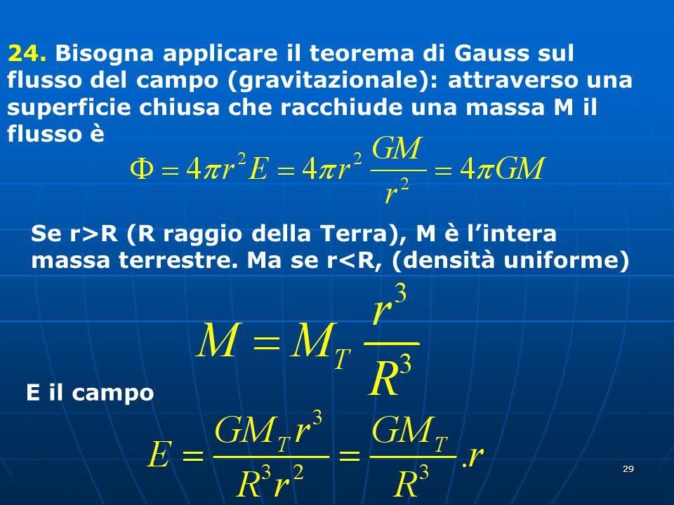 24. Bisogna applicare il teorema di Gauss sul flusso del campo (gravitazionale): attraverso una superficie chiusa che racchiude una massa M il flusso è