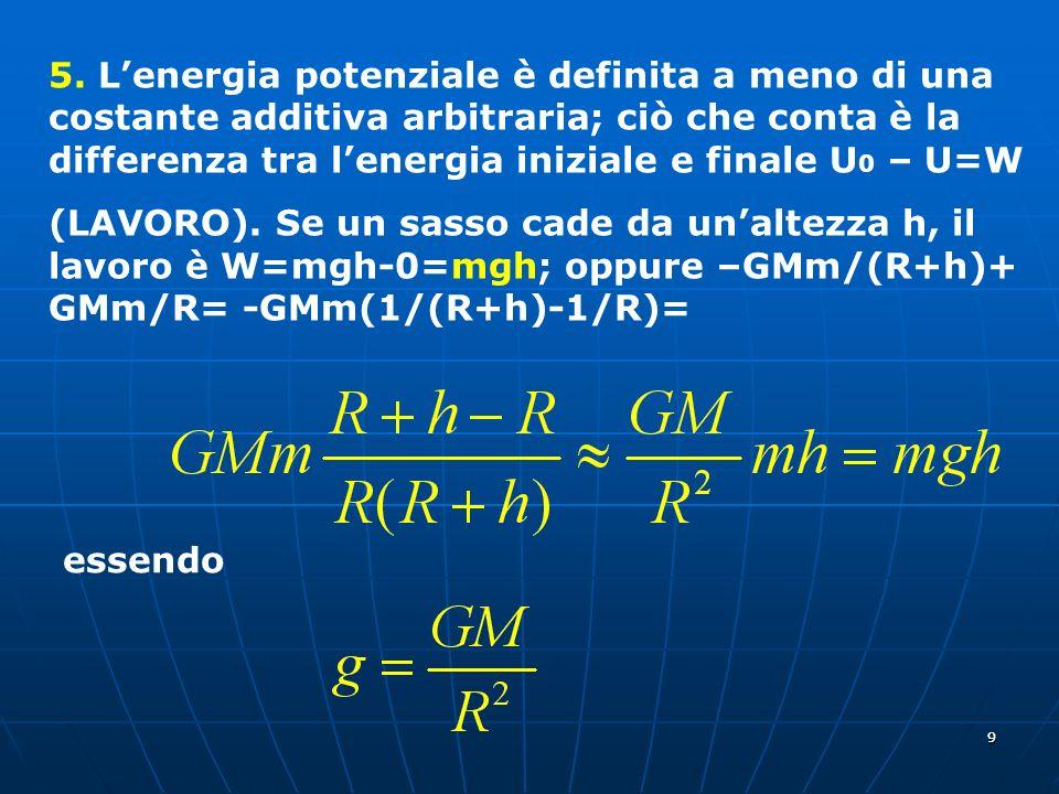 5. L'energia potenziale è definita a meno di una costante additiva arbitraria; ciò che conta è la differenza tra l'energia iniziale e finale U0 – U=W