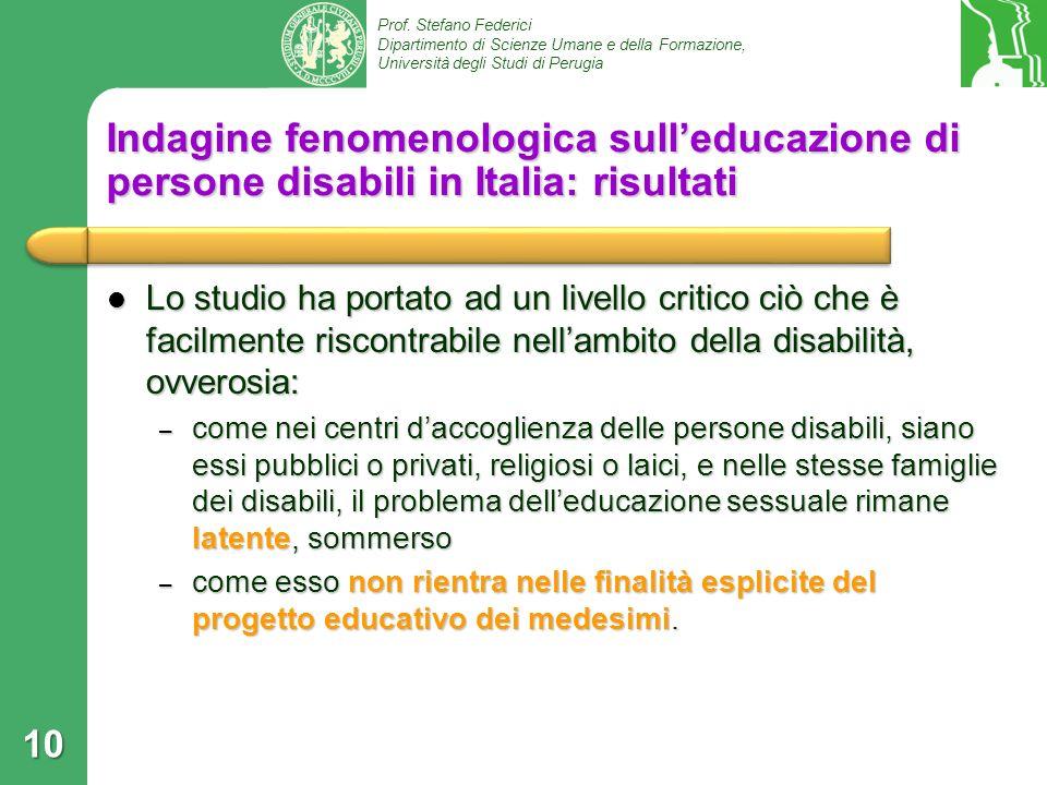 Indagine fenomenologica sull'educazione di persone disabili in Italia: risultati