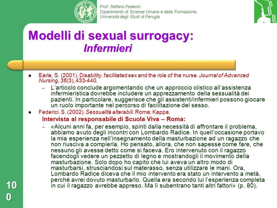 Modelli di sexual surrogacy: Infermieri