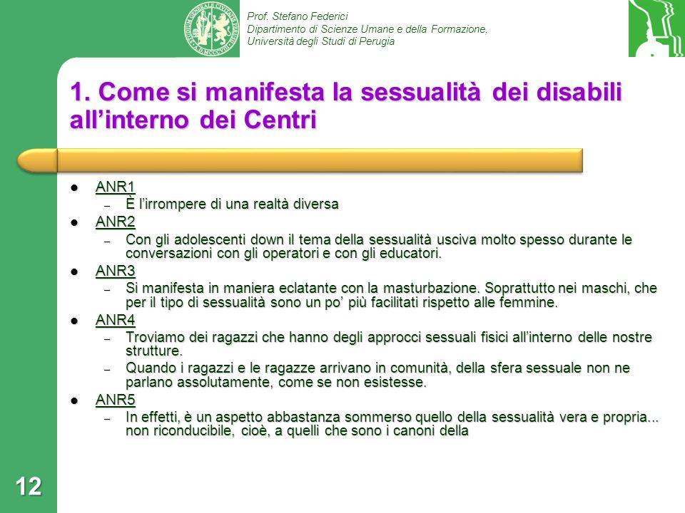1. Come si manifesta la sessualità dei disabili all'interno dei Centri