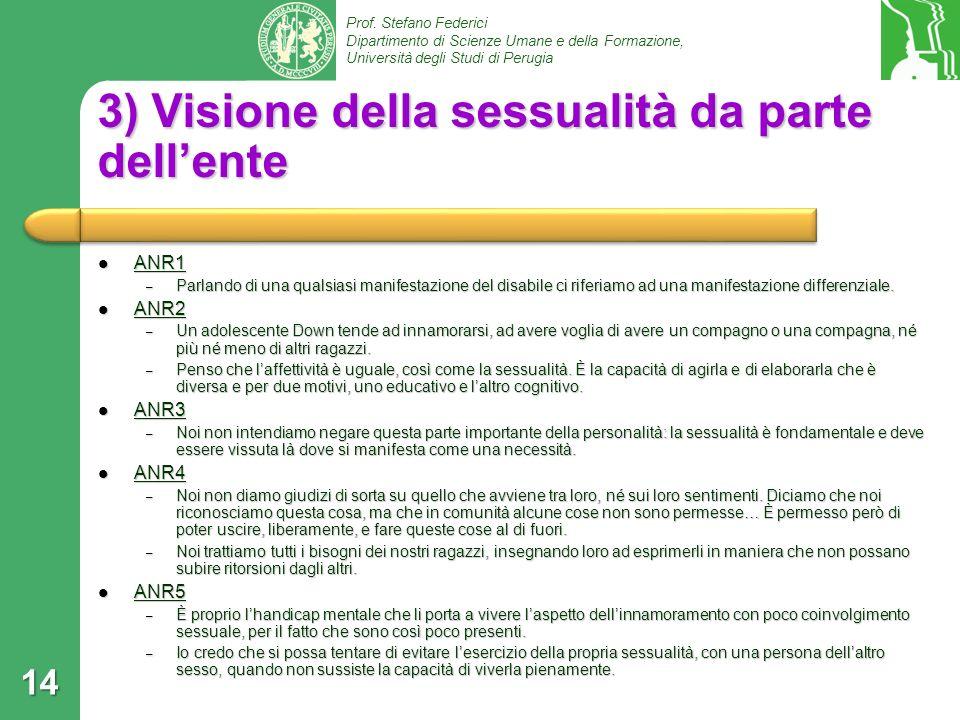 3) Visione della sessualità da parte dell'ente