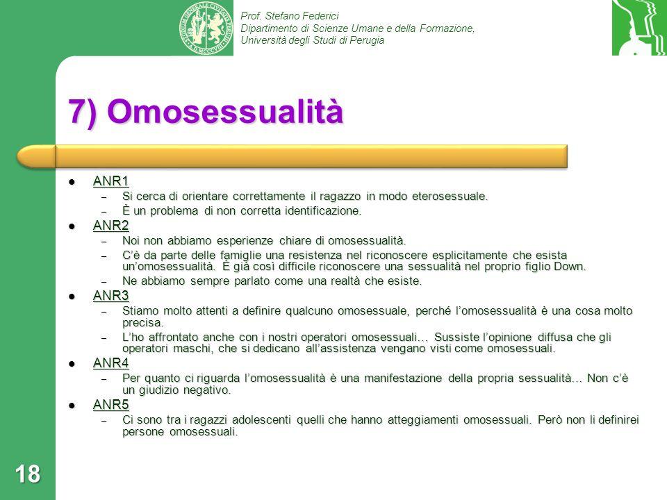 7) Omosessualità ANR1 ANR2 ANR3 ANR4 ANR5