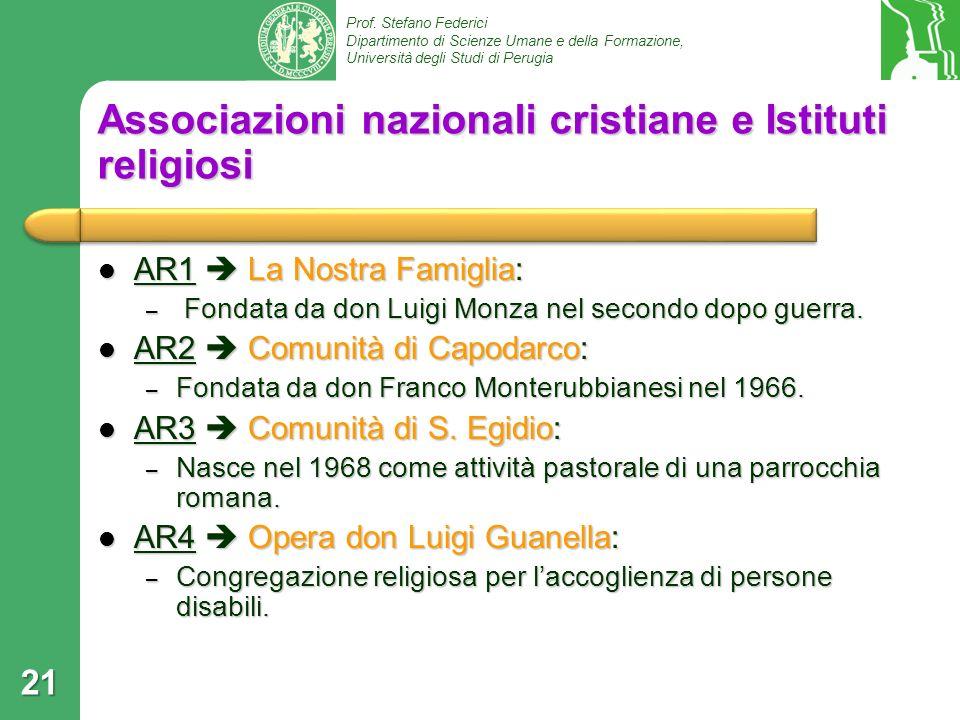 Associazioni nazionali cristiane e Istituti religiosi