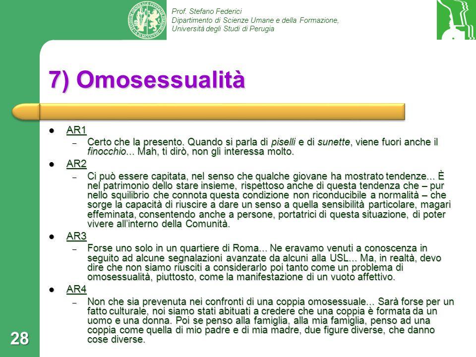 7) Omosessualità AR1 AR2 AR3 AR4