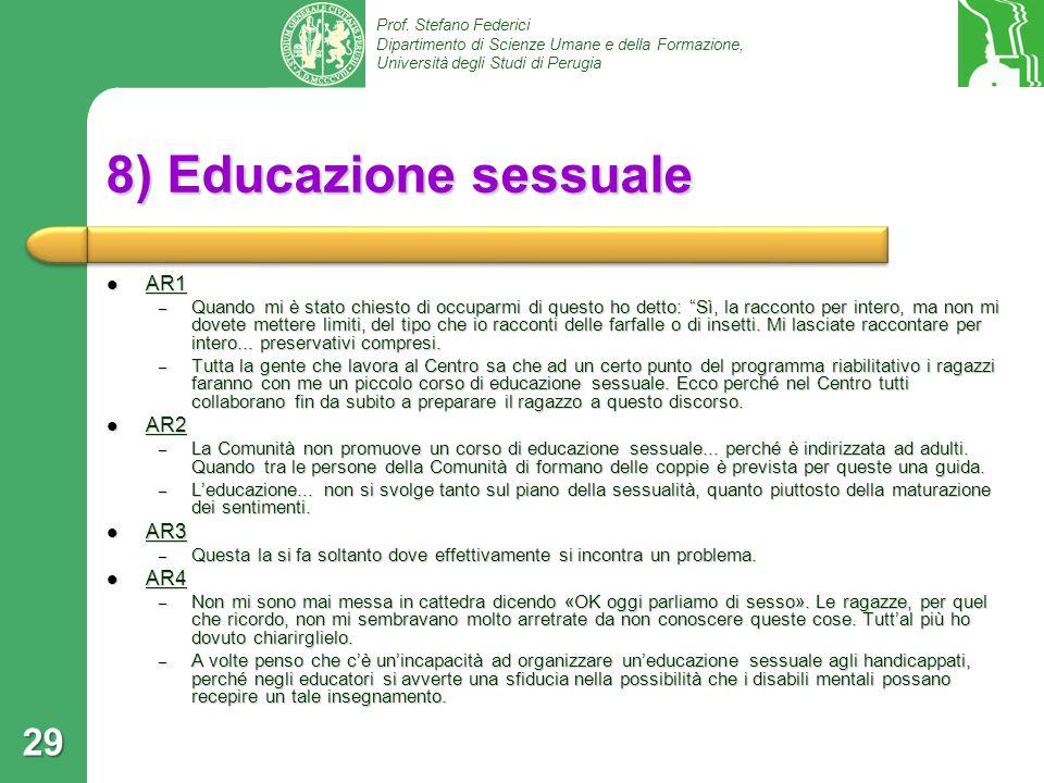 8) Educazione sessuale AR1 AR2 AR3 AR4
