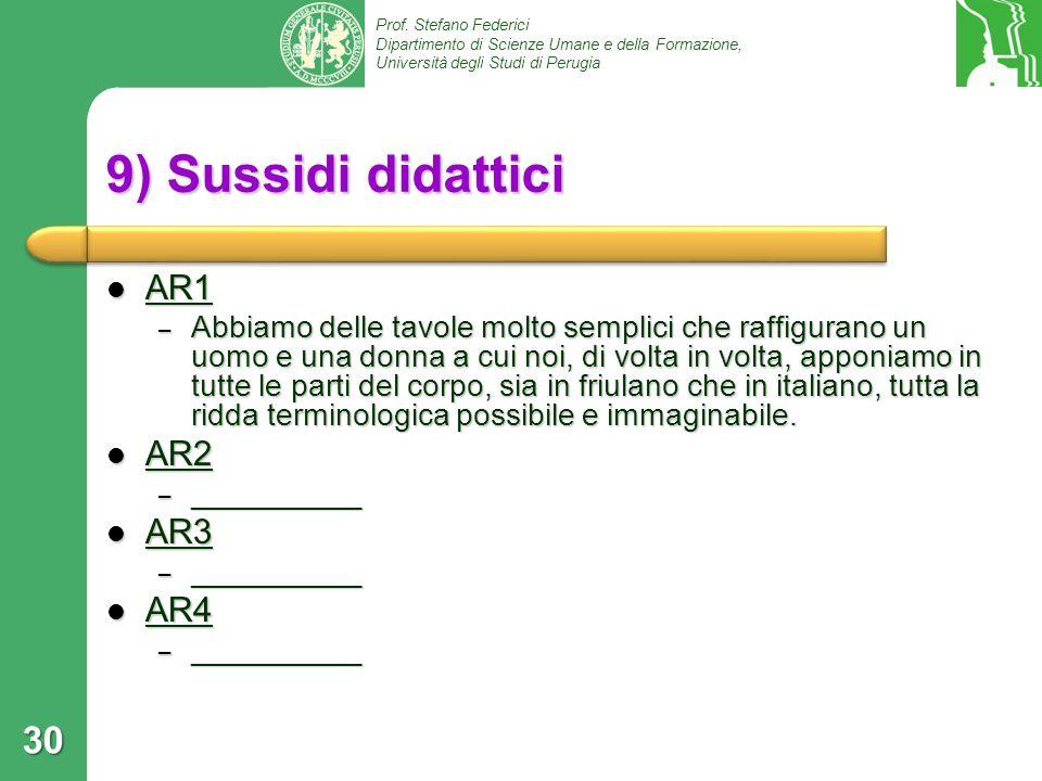 9) Sussidi didattici AR1 AR2 AR3 AR4