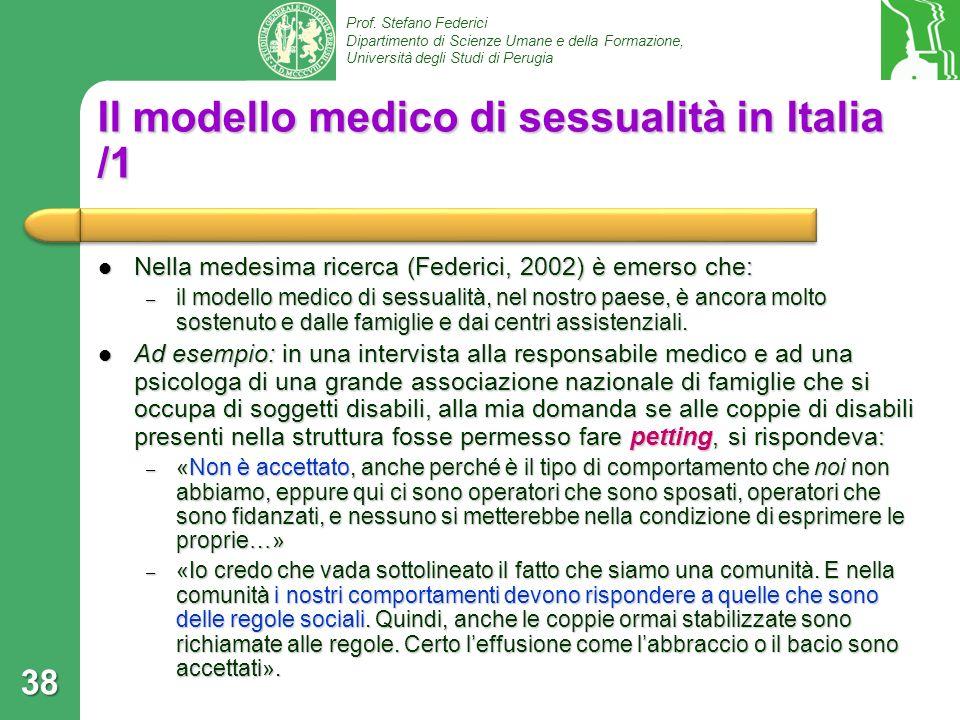 Il modello medico di sessualità in Italia /1