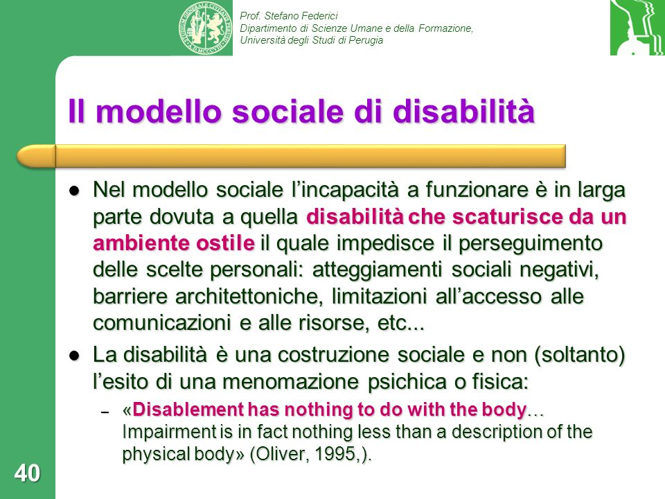 Il modello sociale di disabilità