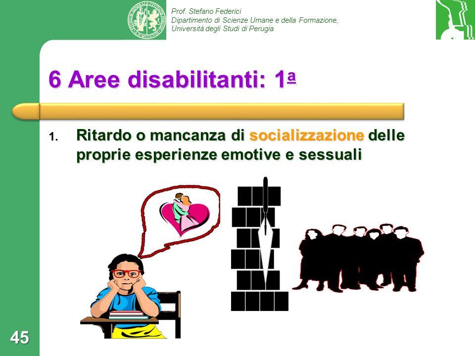 6 Aree disabilitanti: 1a Ritardo o mancanza di socializzazione delle proprie esperienze emotive e sessuali.