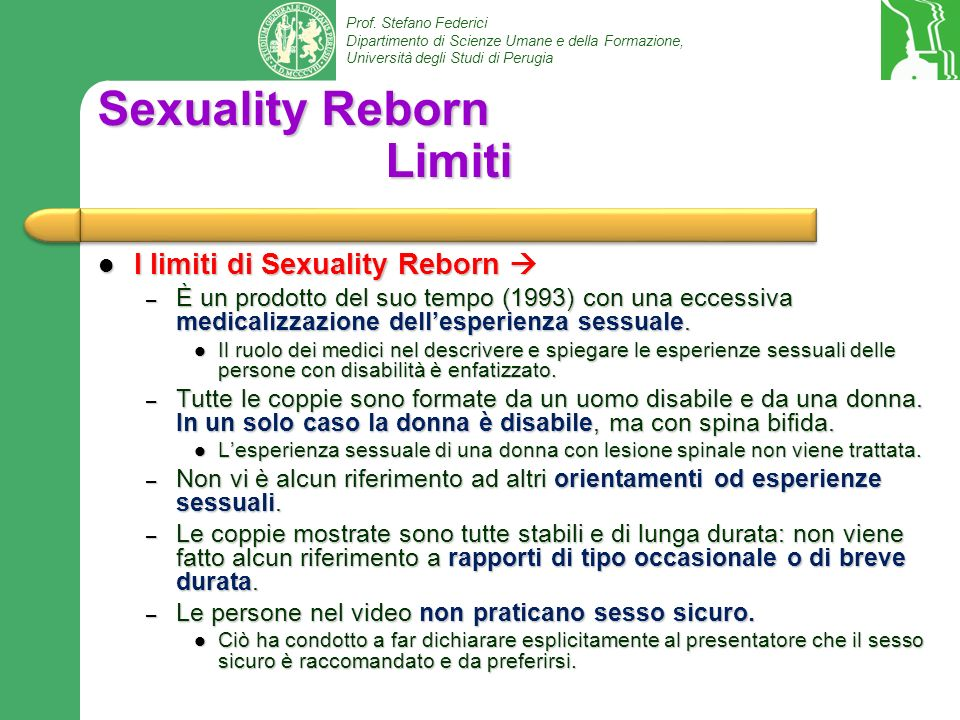 Sexuality Reborn Limiti