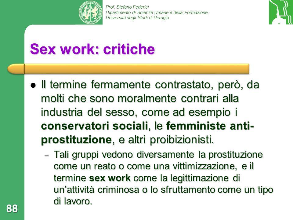 Sex work: critiche