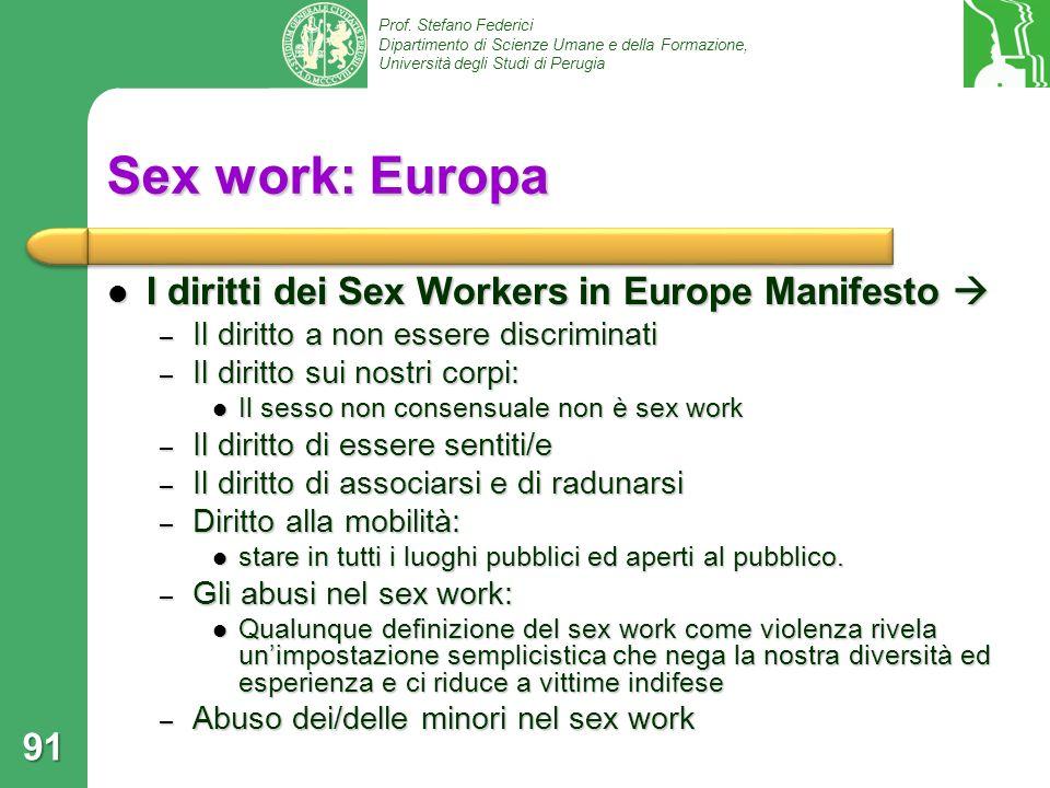 Sex work: Europa I diritti dei Sex Workers in Europe Manifesto 