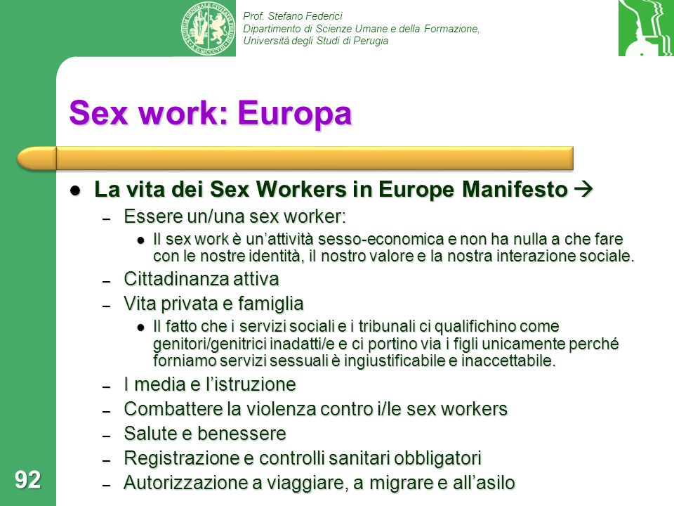 Sex work: Europa La vita dei Sex Workers in Europe Manifesto 
