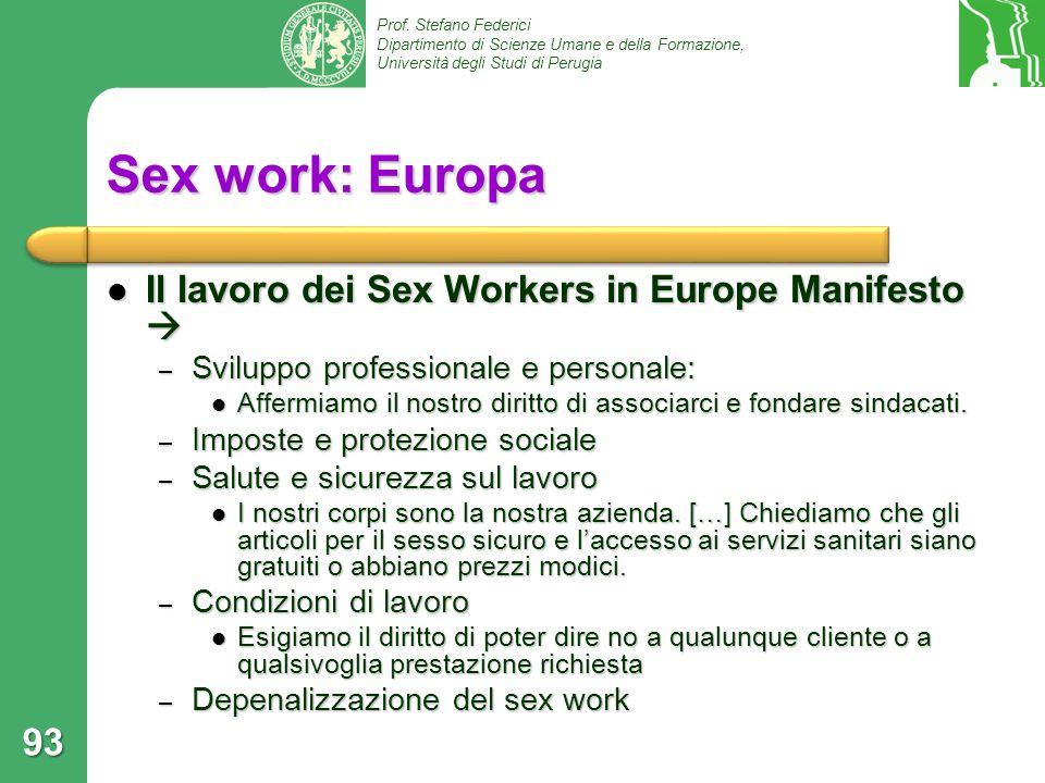 Sex work: Europa Il lavoro dei Sex Workers in Europe Manifesto 