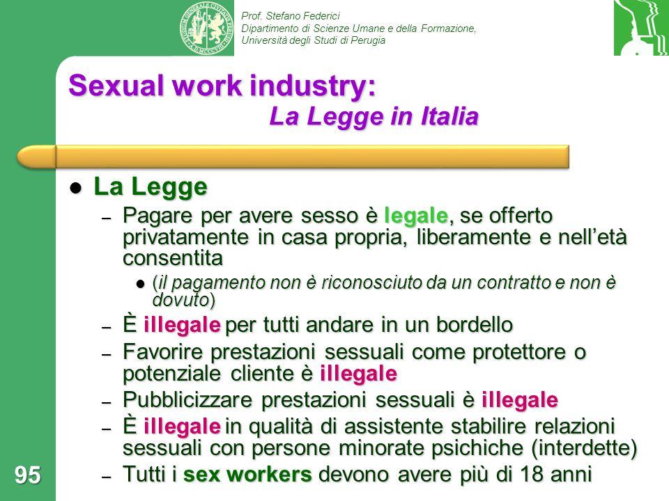 Sexual work industry: La Legge in Italia