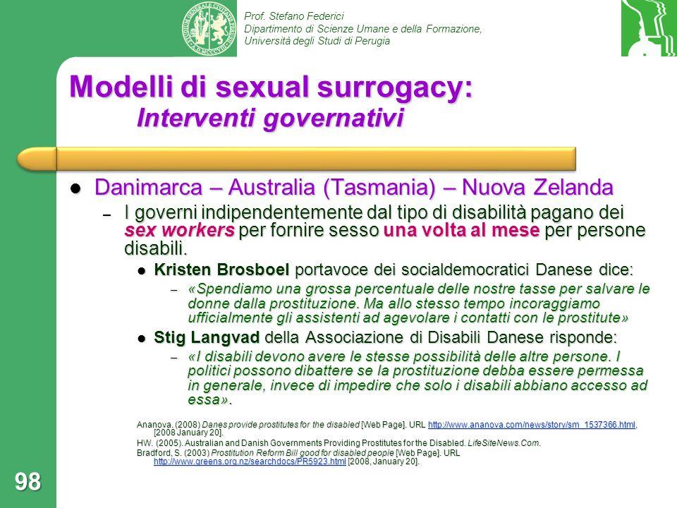 Modelli di sexual surrogacy: Interventi governativi