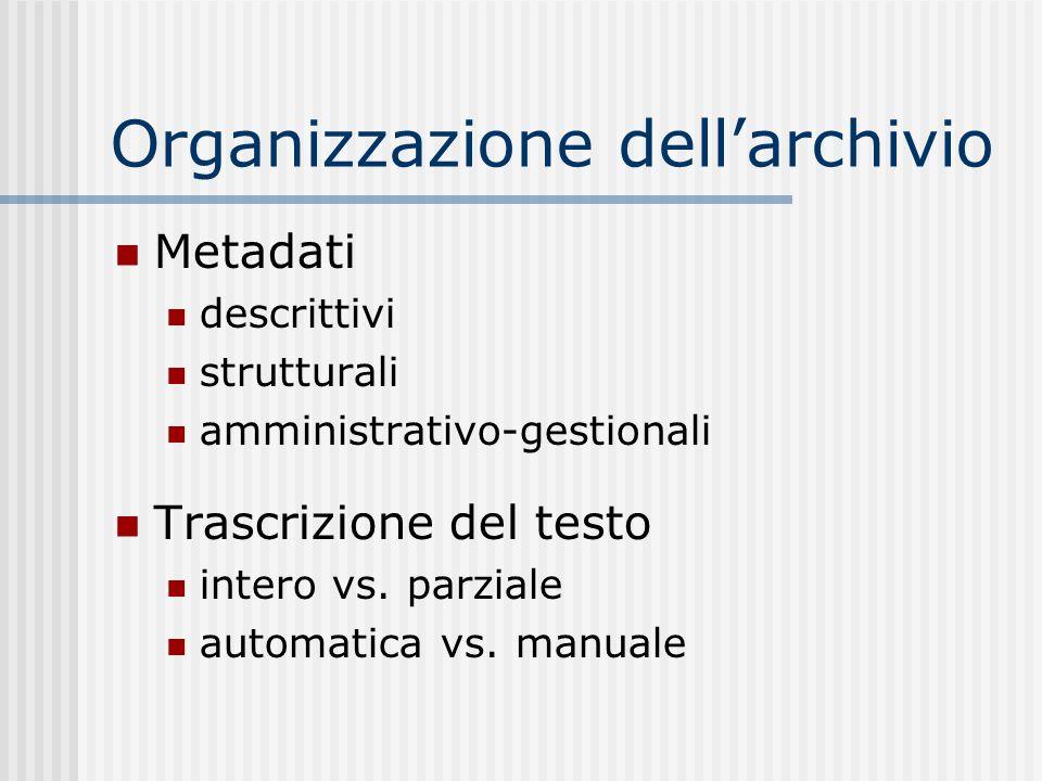 Organizzazione dell'archivio
