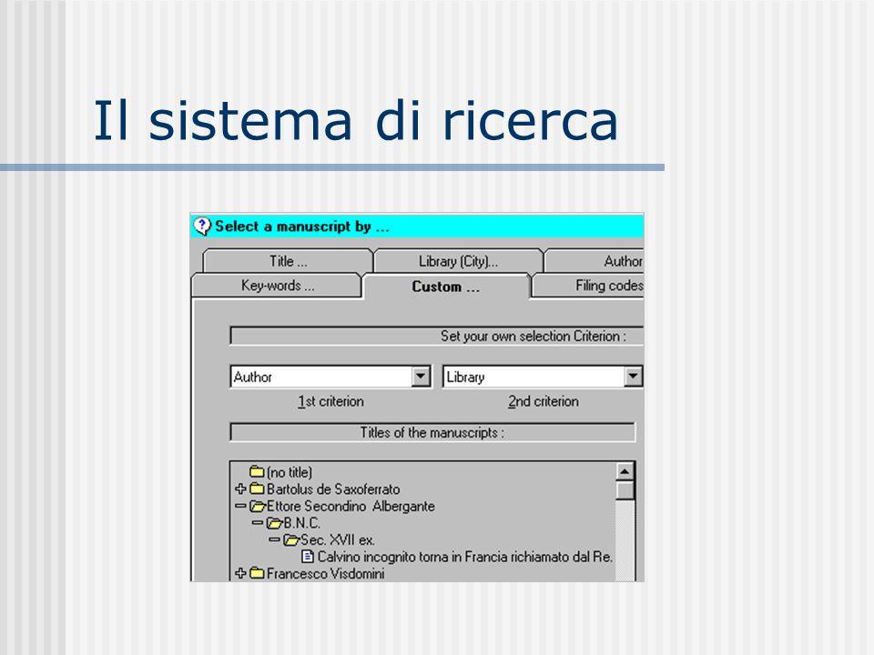Il sistema di ricerca